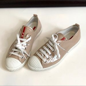 Prada Patent Leather Nude Beige Lace Up Sneakers